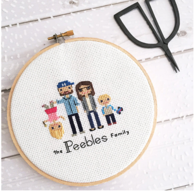 Custom 4 Character Cross Stitch Family