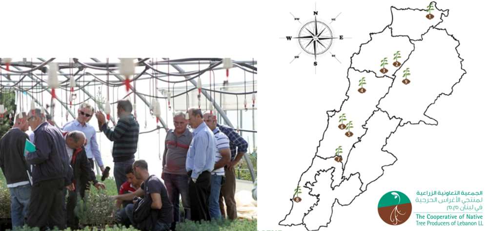Figure 1 – Distribution of CNTPL Native Nurseries throughout Lebanon