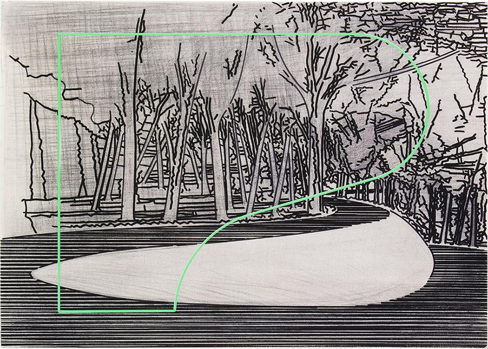 Tomoe 8 ,1999-2015 Graphite and tempera / paper, 50 x 70 cm