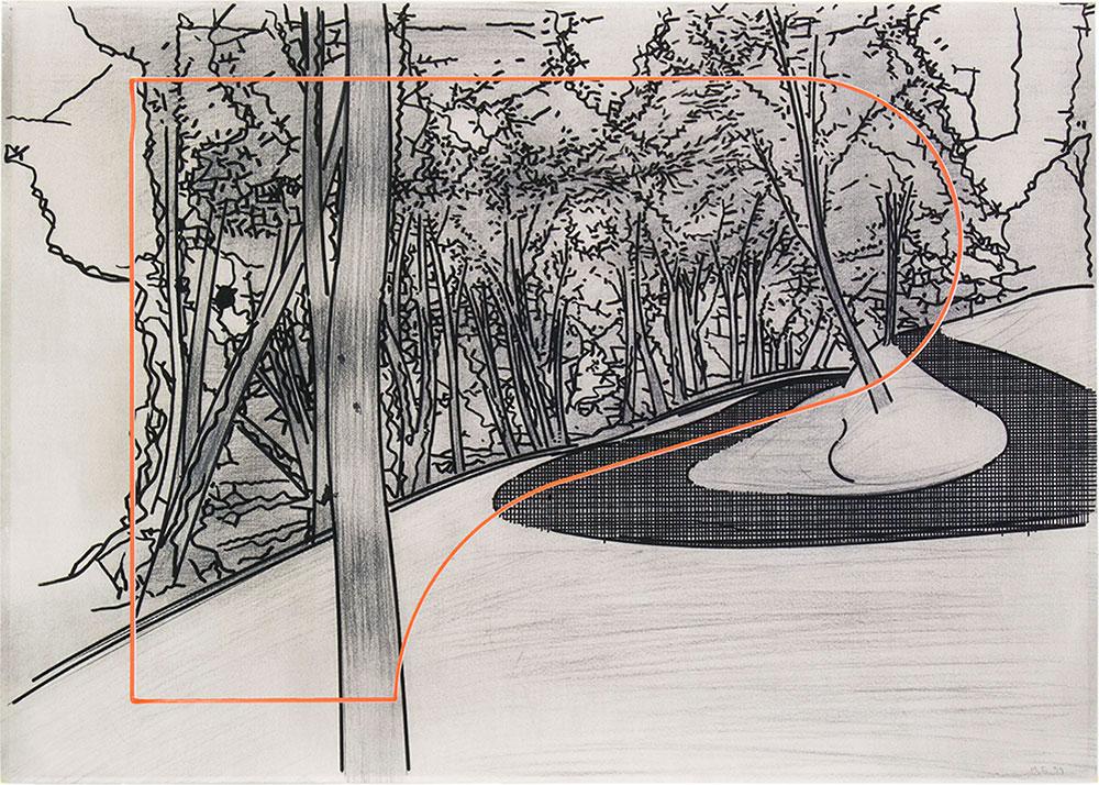 Tomoe 2 ,1999-2015 Graphite and tempera / paper, 50 x 70 cm