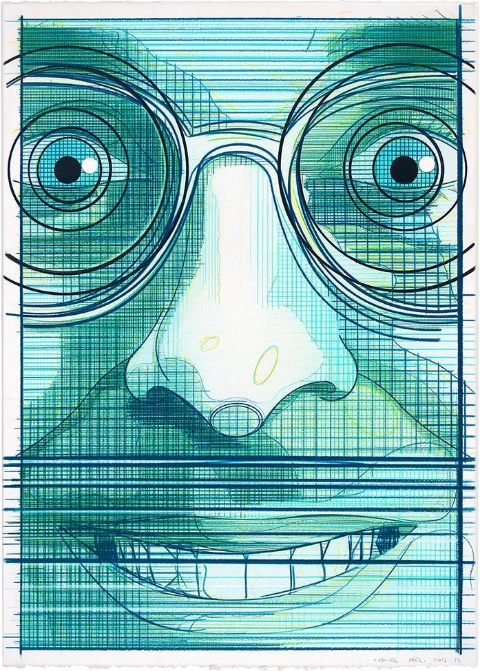 El turista del espacio 2 ,2013-2014 Lápiz de color / papel, 70 x 50 cm