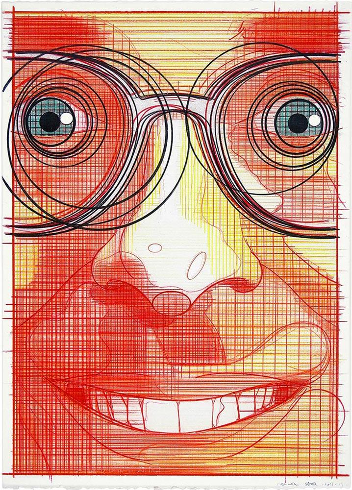 El turista del espacio 12 ,2013-2014 Lápiz de color / papel, 70 x 50 cm