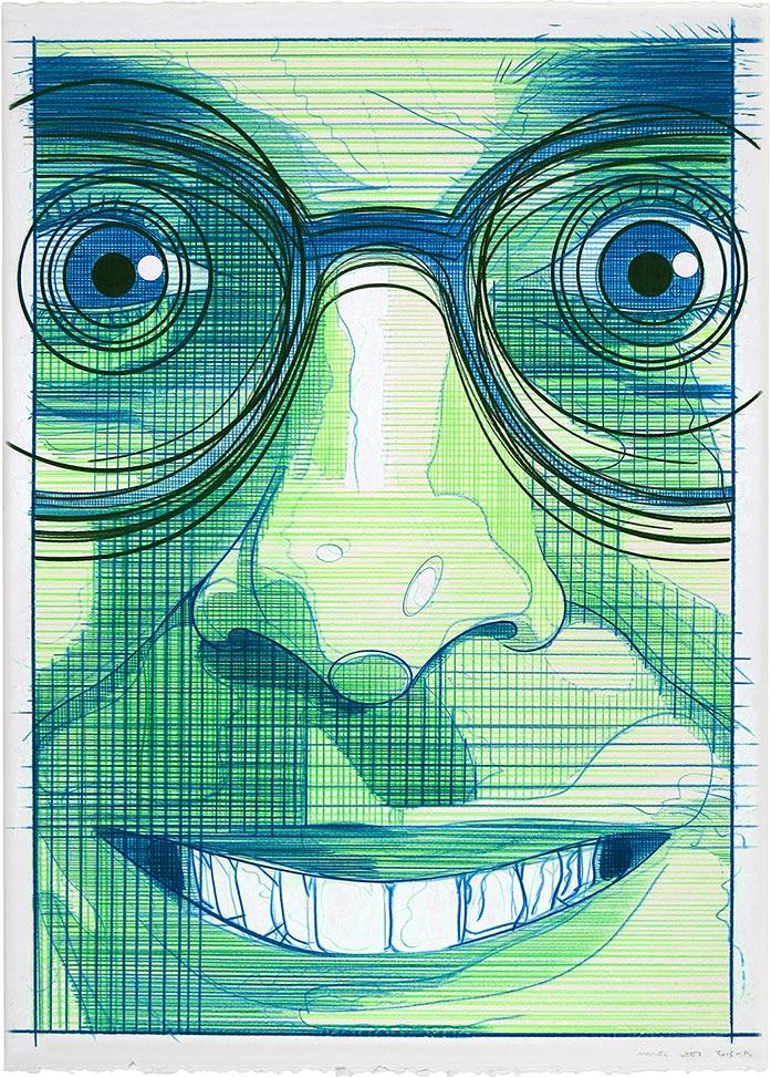 El turista del espacio 3 ,2013-2014 Lápiz de color / papel, 70 x 50 cm