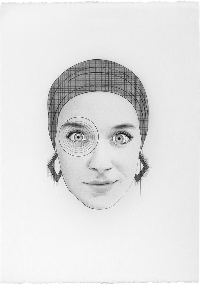 Duchamp as my niece Elisa,2012 Graphite / paper, 70 x 50 cm