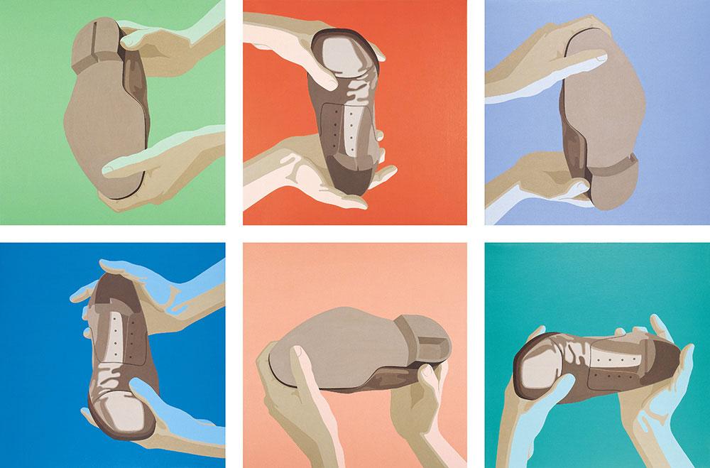 Aquiles 1992-1993. Acrylic / canvas, 6 piezas de 55 x 55 cm cada unidad, configuración variable