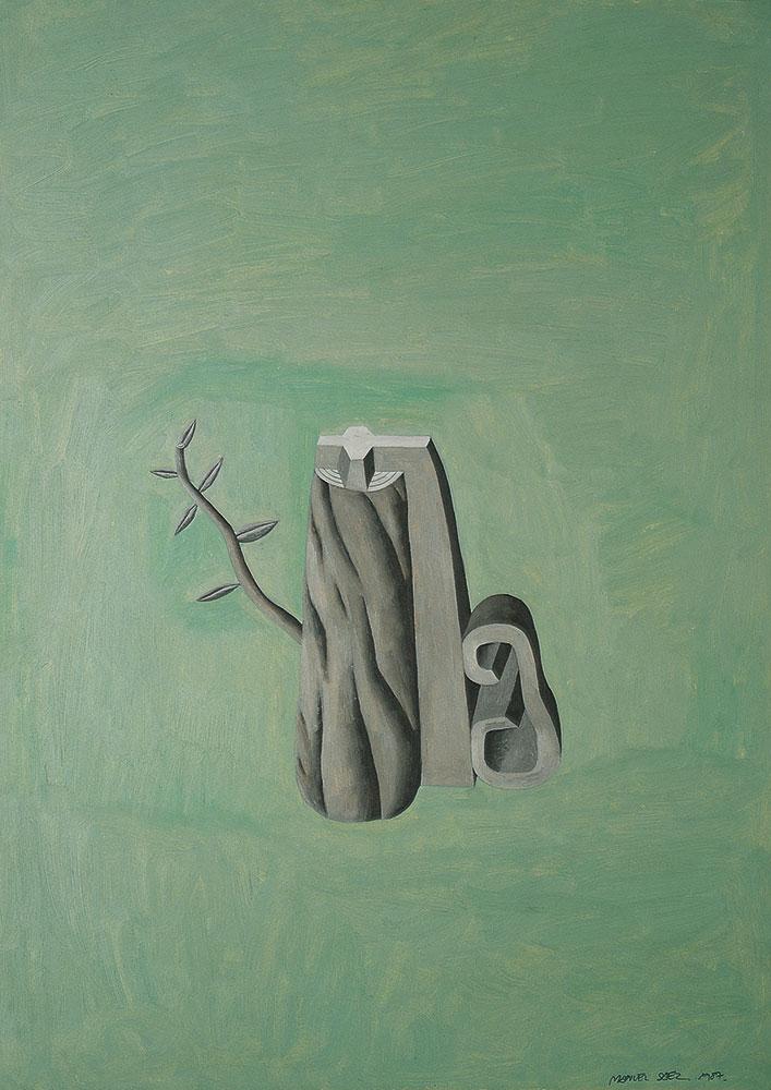 Arbol con oreja 1987. Oil / paper, 70 x 50 cm