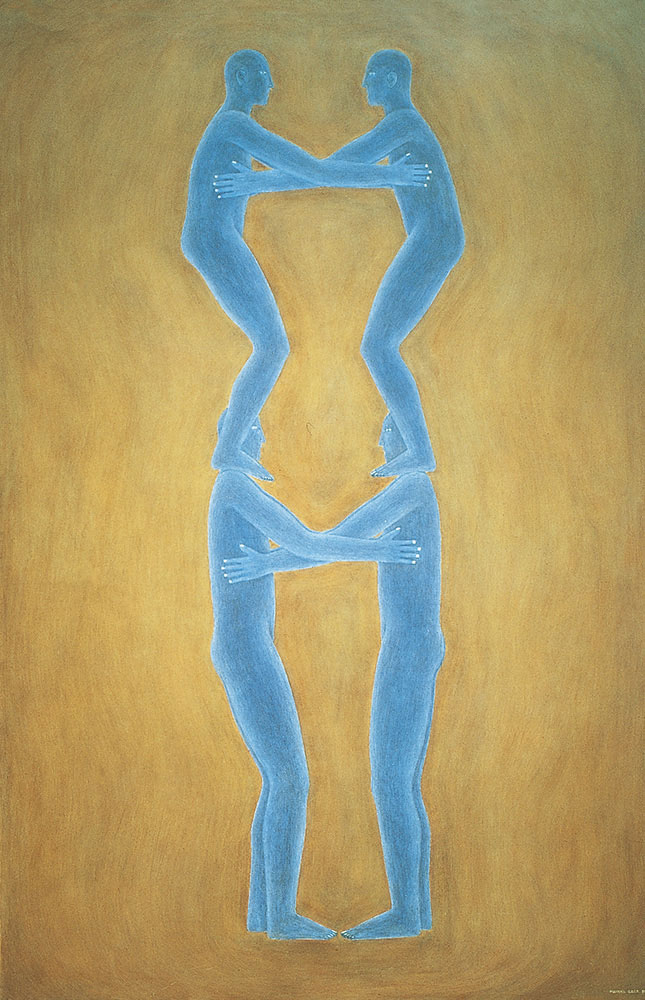Cuatro autorretratos azules 1984-1985. Oil / canvas, 195 x 130 cm