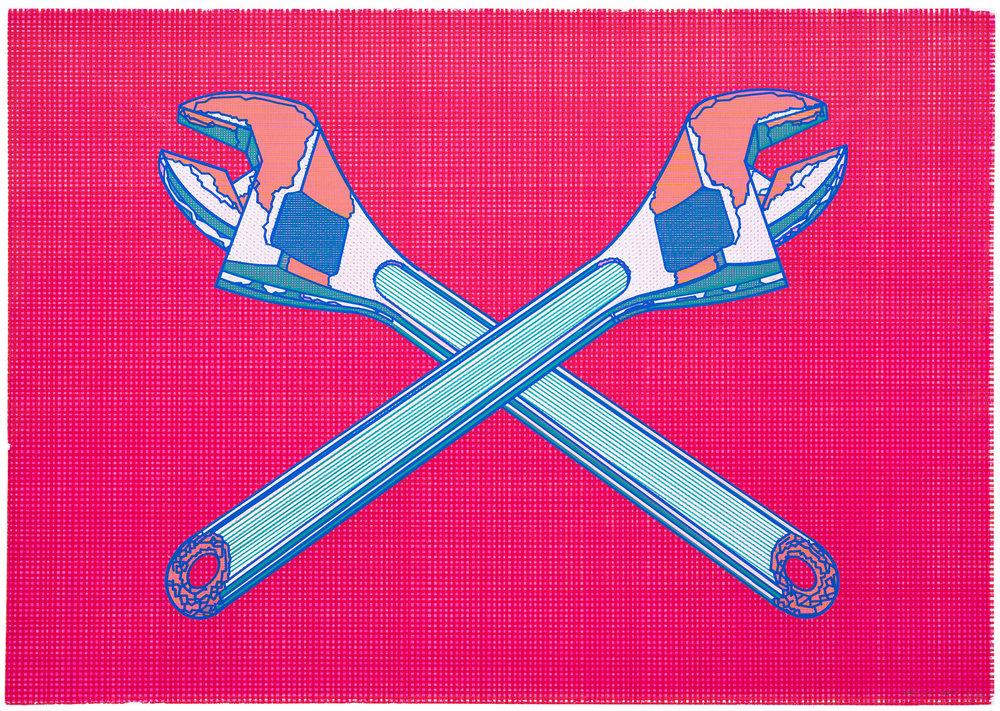Tramoya (1), 2017. Acuarela y témpera sobre papel. 59 x 83 cm