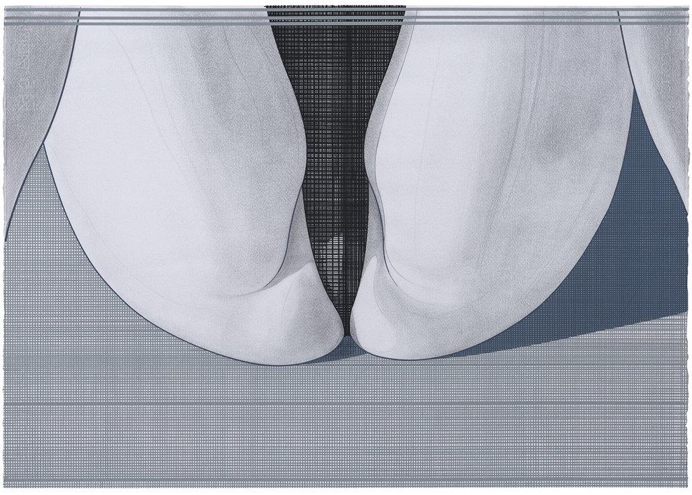 Rear Window (4) , 2016-2017. Acuarela y témpera sobre papel, 50 x 71 cm.
