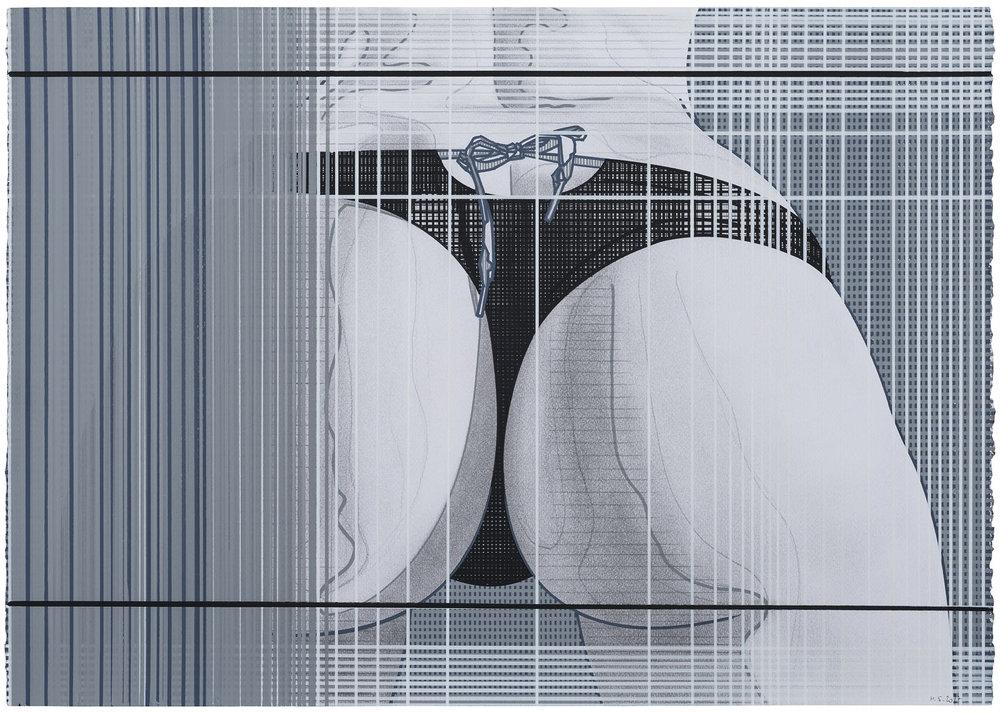 Rear Window (3) , 2016-2017. Acuarela y témpera sobre papel, 50 x 71 cm.