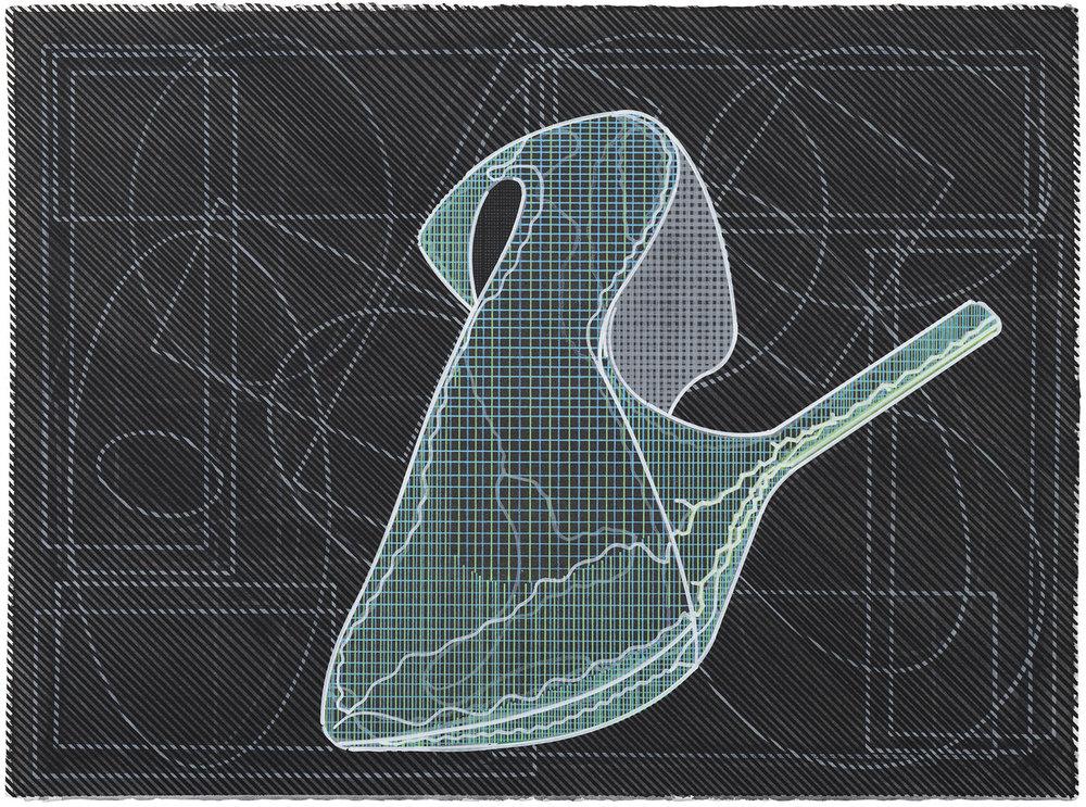 Pentagrama (1), 2011-2017. Acuarela y témpera sobre papel. 56 x 76 cm