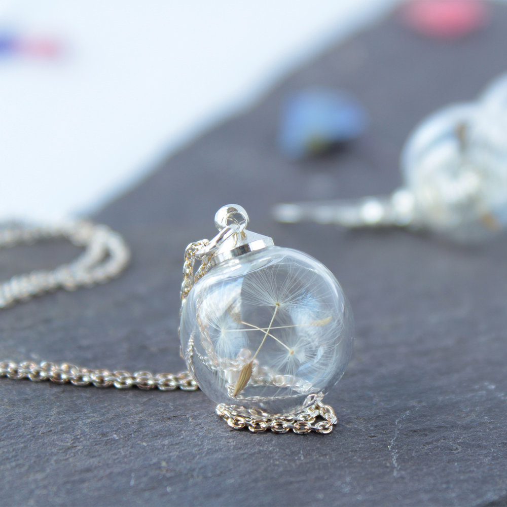 Dandelion Necklace - Three mini wishes encapsulated in a mini glass globe.