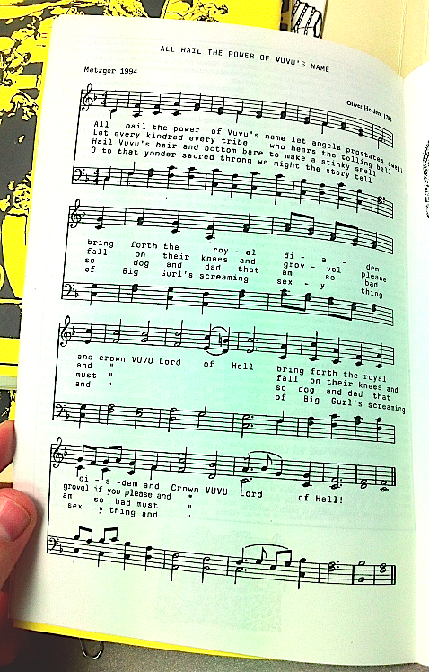 """Thom Metzger's hymn, """"All Hail the Power of VuVu's Name in Vol. 7, No.4, 1995"""