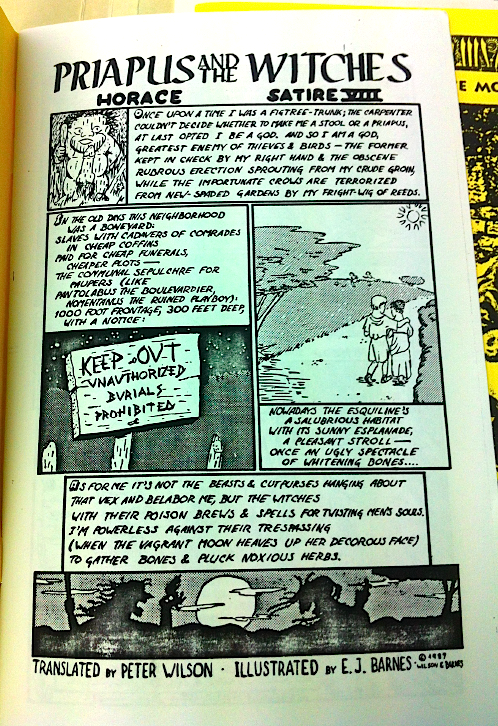 Peter L. WIlson & E.J. Banes's comic version of Horace's  Priapus and the Witches  in Vol.7, no.3.