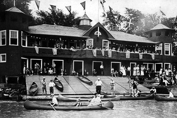 "The Washington Canoe Club, c. 1920. The boathouse is listed on the National Register of Historic Places, is a designated DC Landmark and has twice been identified by the DC Preservation League in its annual list of ""Endangered Places."""