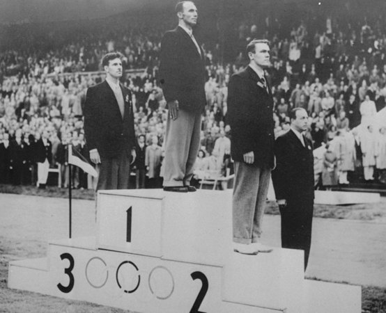 At the 1948 Olympics in Helsinki, WCC member Frank Havens takes home the Silver Medal in the 10,000 Meter Canoe Race. Credit: U.S. Olympic Committee.