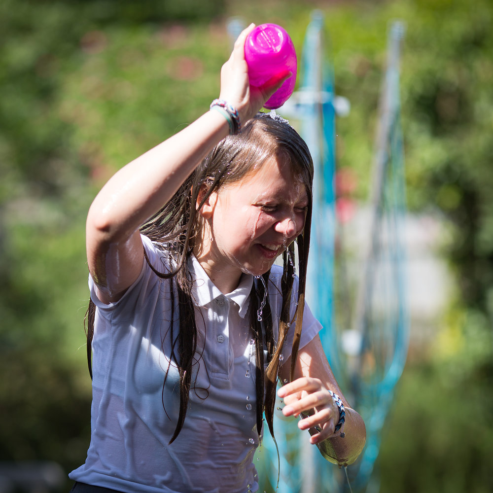 Water can cool down a temper in the playground