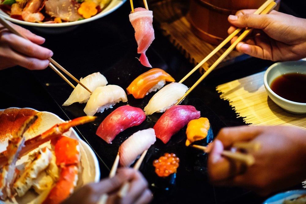 Sushi - Sashimi with rice (i.e. chirashi bowl) or nigiri sushi. Nori/seaweed paper and soy sauce are safe.