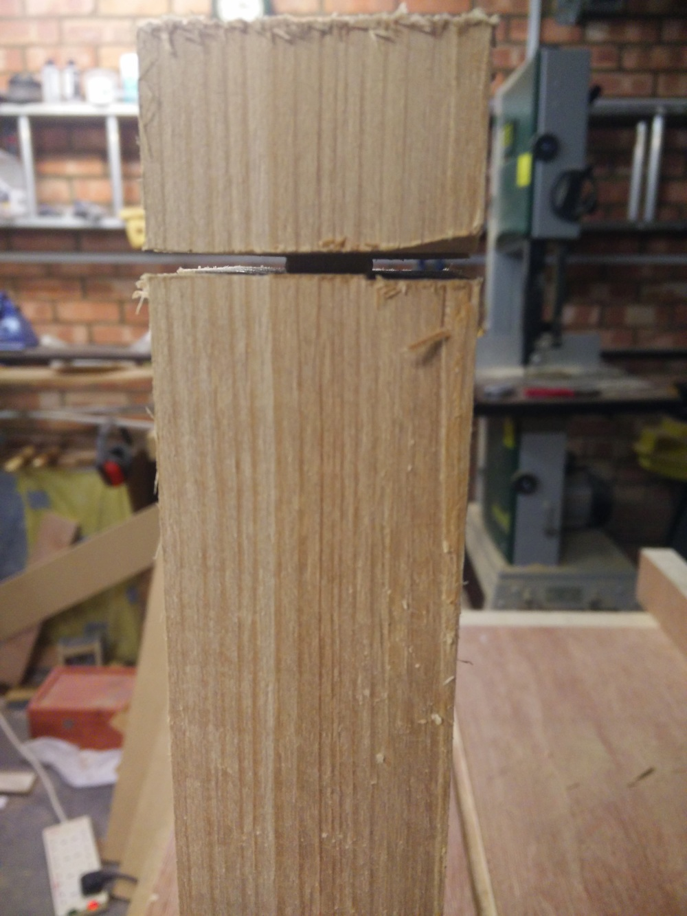 here I've cut all the way around the shoulder of a tenon.