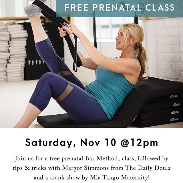 Fairfield County - if you're pregnant and want to try an amazing prenatal workout- meet me at Bar Method Westport this Saturday for a free class. It's gonna be gooooooood!