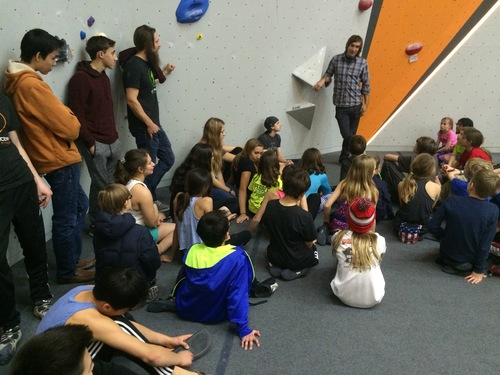 Chris Sharma encouraging our team kids to stay psyched on climbing as they prepare for Regionals.