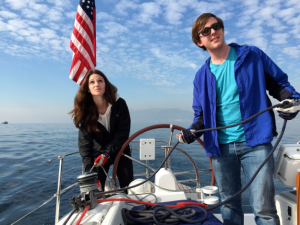 Leah and Brendan trimming the sails on our BFG January 2015 team building off site.