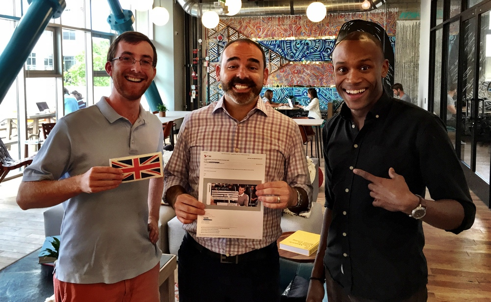 Brendan and Brett with WeWork Promenade Community Manager Matthew Jones.