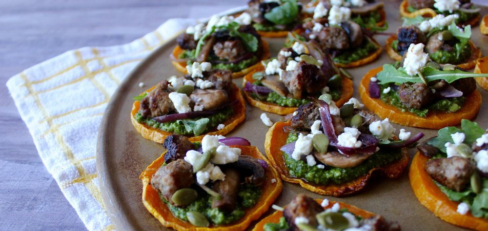 MINI BUTTERNUT SQUASH PESTO PIZZAS