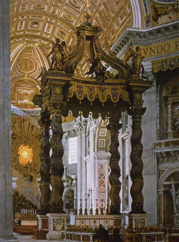 Baldacchino di San Pietro, Gian Lorenzo Bernini, gilt bronze, 1623 - 1634