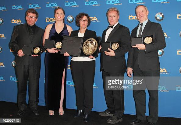 Director Lisa Cholodenko and her unit production manager/assistant director team for the HBO miniseries  Olive Kitteridge . We won the Director's Guild of America award for best direction for a TV movie or miniseries. Los Angeles, March 2015