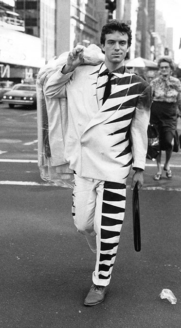 photo by Bill Cunningham 1982. The Black and White Zig-Zag Jacket on Fifth Avenue and 57th Street, New York.