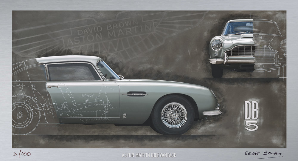 Unframed Aston Martin DB5 lithographic print onto 220gsm metallic board