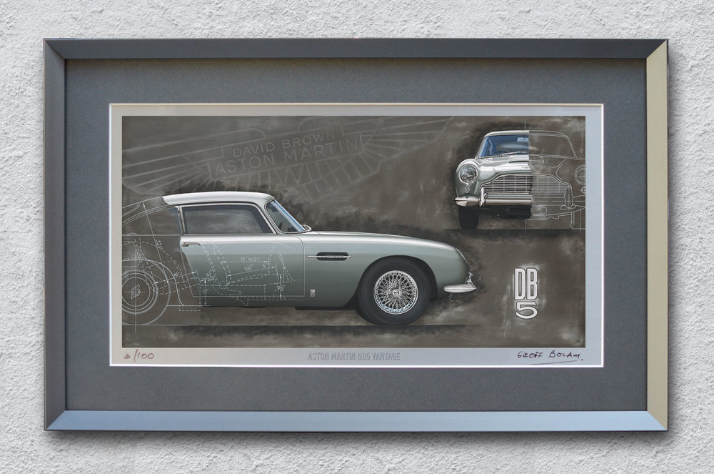 Framed Aston Martin DB5 lithographic print onto 220gsm metallic board