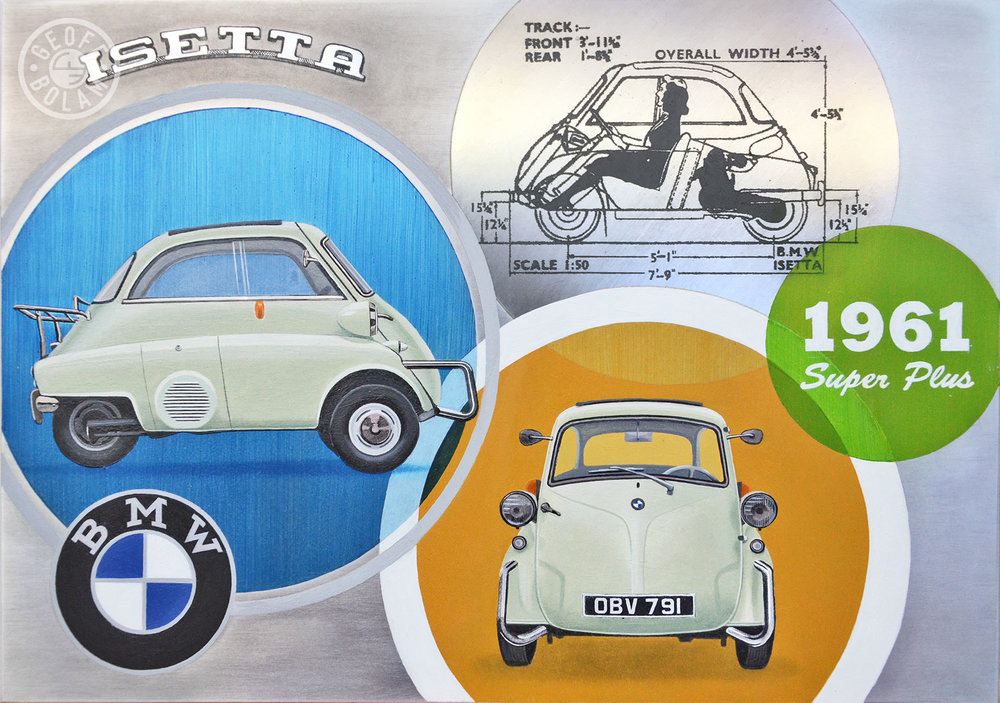 A recent commission featuring a 1961 BMW Isetta Super Plus - Oils on Aluminium