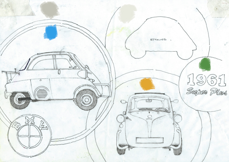 Detailed drawing showing the final layout and colour palette