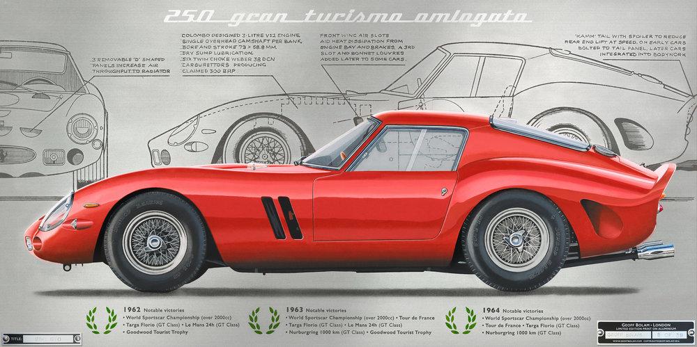 ferrari 250 gto print — geoff bolam - automotive fine artist