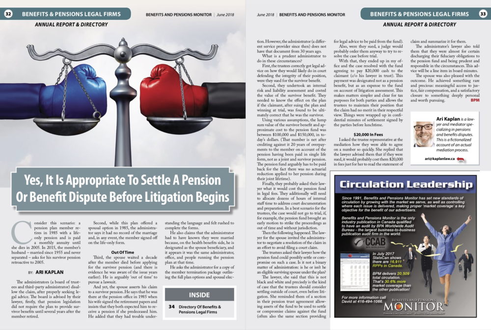 Benefits & Pensions Monitor June 2018 - Ari Kaplan Mediation Article .png