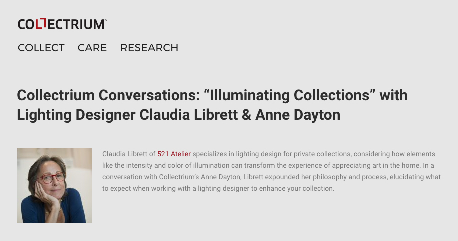 Collectrium Conversation Claudia Librett of 521 Atelier