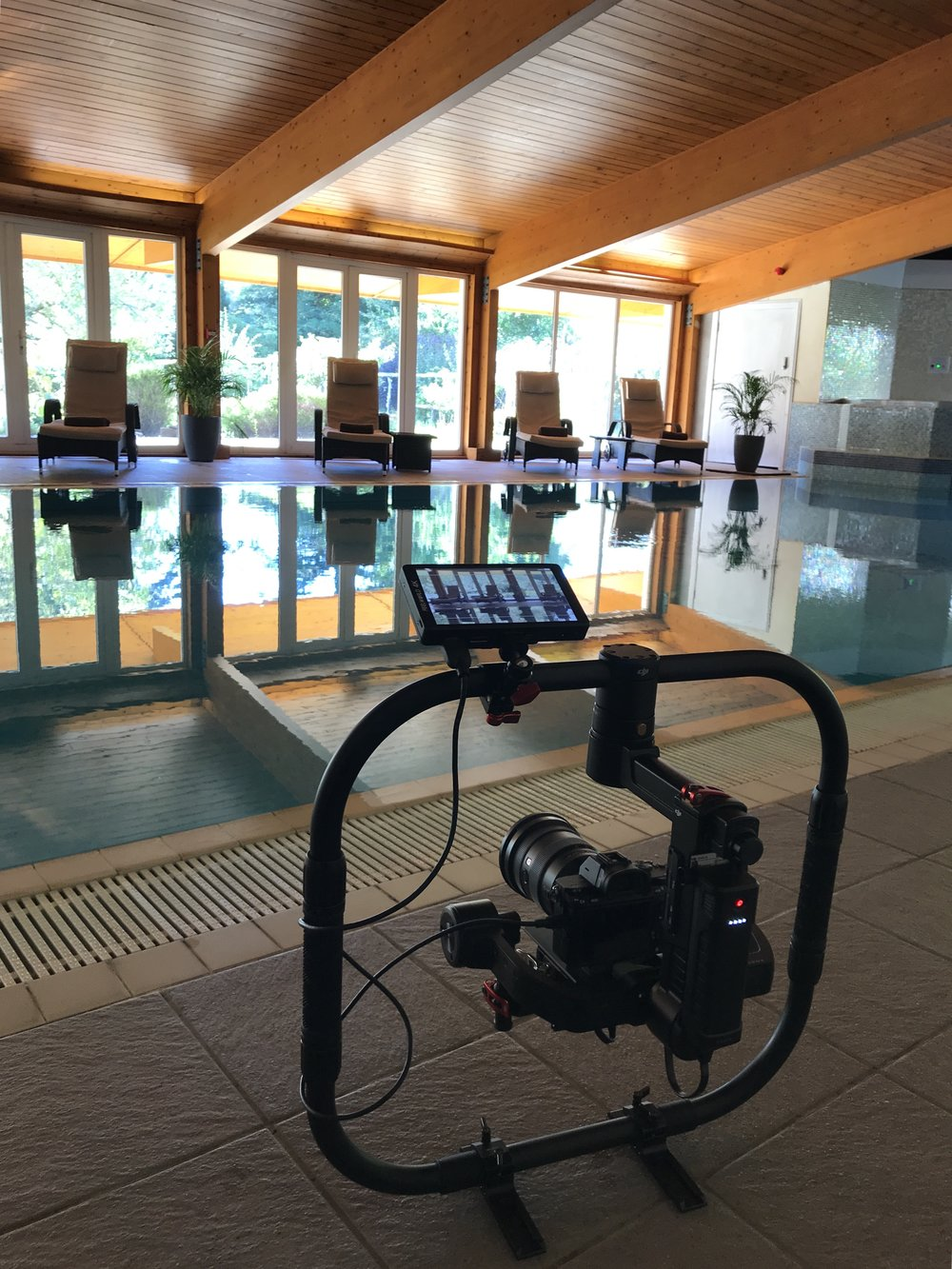 Filming in Eriska's beautiful spa building.
