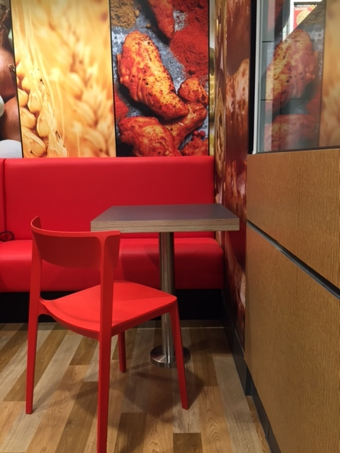 Contract furniture table and chair in dominoes pizza