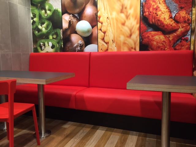 Contract restaurant furniture in dominoes pizza scotland