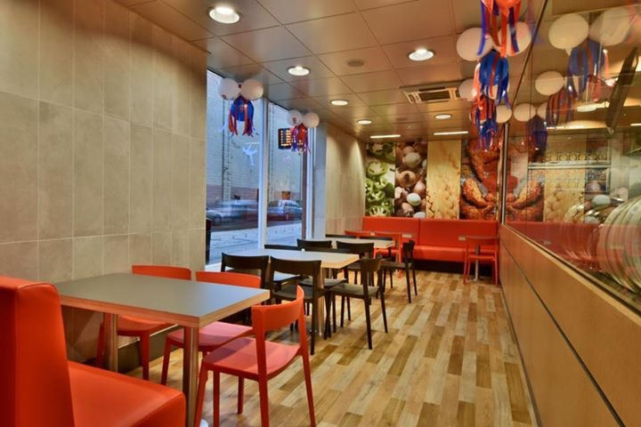 Tables and chairs in dominoes pizza scotland