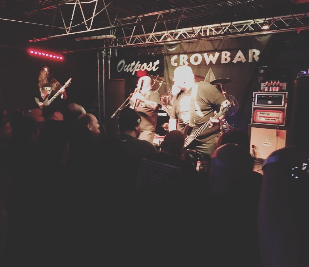 Crowbar, destroying the stage at The Outpost Concert Club in Kent Ohio.