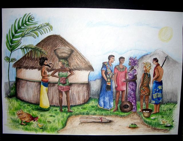 Adeyemi and the Villagers of HoneyGrove - Illustration by Jackie Laryea