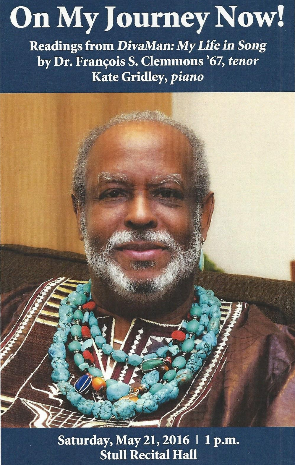 Performance in Stull Hall at Oberlin College Conservatory of Music on Saturday, May 21, 2016. DivaMan read excerpts from his upcoming memoir, DivaMan: My Life in Song, and sang African-American Spirituals, honoring the 150th anniversary of the Conservatory.
