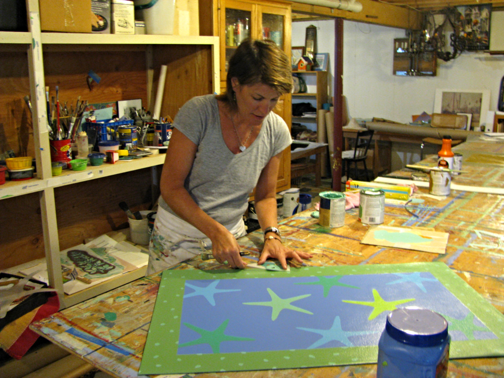 Cecily at work in her studio