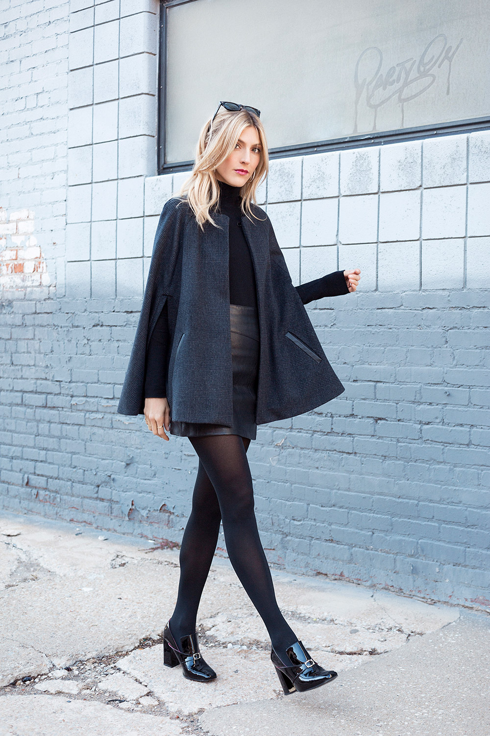 Cape Jacket in Charcoal Plaid Wool with Leather Trim by Sarah Nelsen   Photo by Samantha Levi Photography