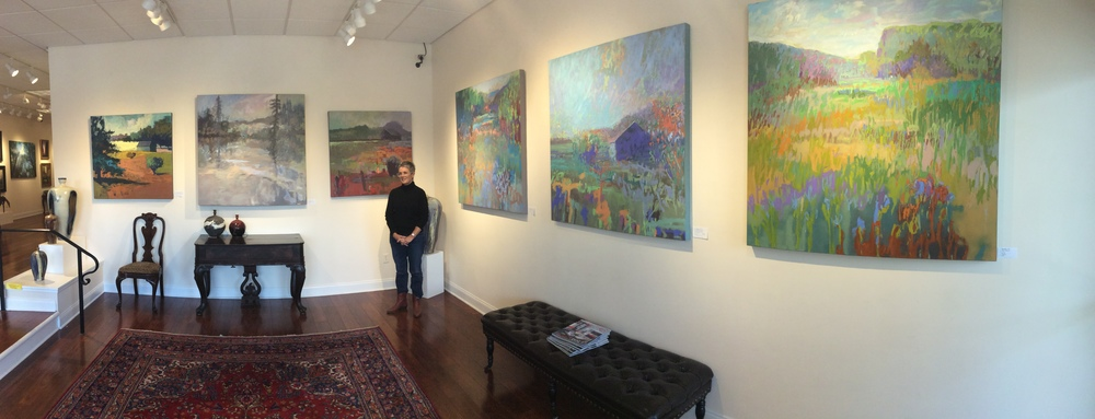 "Color Artist Jane Schmidt with a selection of her paintings prior to the opening of ""Couleur"" in Albany."