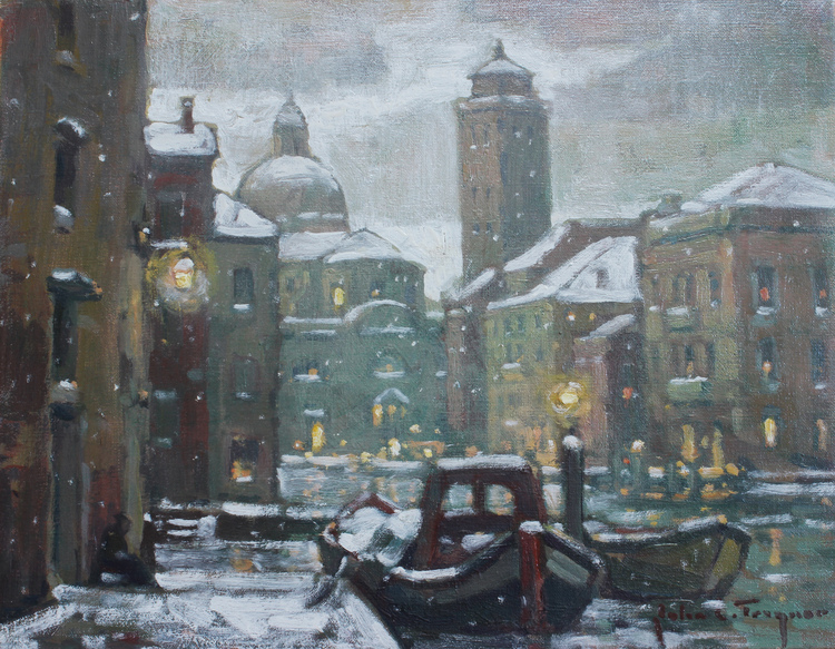Snowy Evening, Grand Canal by John C. Traynor