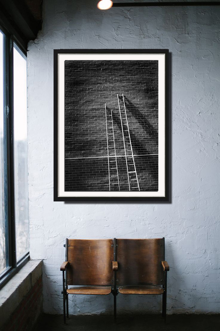 JACOB'S LADDERS  from 1,700.00  (2014) Photography | Edition of 7  Hahnemühle Photo Luster Print, numbered and signed.  Print Options:  Print mounted on 1/8 inch artboard  Print framed and matted in a 2 inch black frame with 1/2 inch silver scoop lip, under glass  Please allow up to 3 weeks for printing.